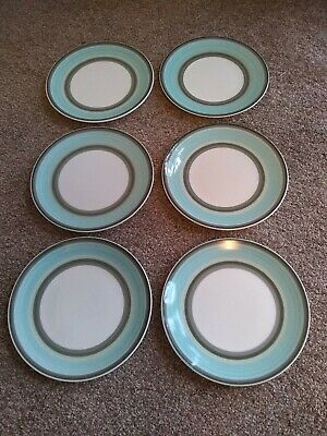"Wedgwood Susie Cooper ""Gay Stripes Jade"" Fine Bone China Side Plates x 6"
