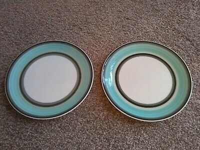 "Wedgwood Susie Cooper ""Gay Stripes Jade"" Fine Bone China Side Plates x 2"