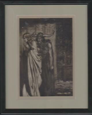 Antique Framed Arthur Rackham Print Called Oh Wife Betrayed