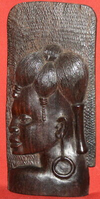 Vintage Hand Carving Mahogany Wood Wall Hanging Woman Figure