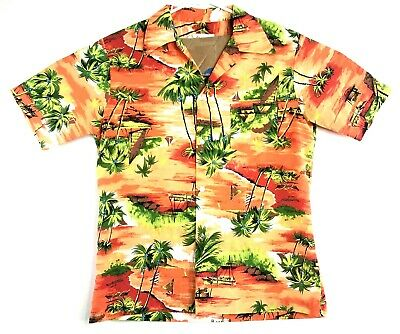 VTG Mens Pomare Tahiti Hawaiian Shirt Short Sleeve Orange Palm Trees Size Medium