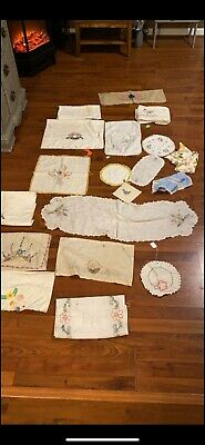 vintage embroidered linens lot Approx 100 Pieces