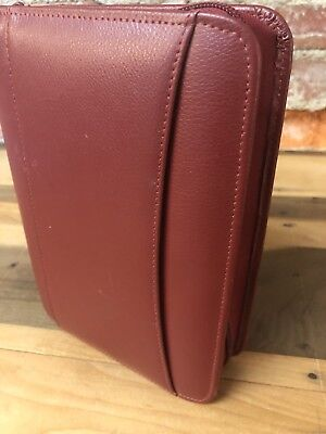 Franklin Covey Organizer Dark Red Leather Zipper 6 Ring Planner Binder 8.5""