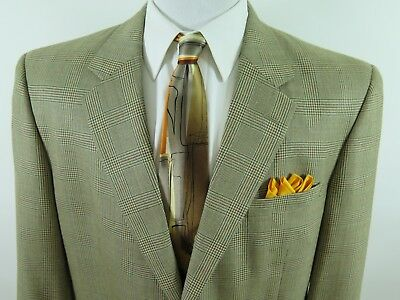 Jos.A.Bank Men's Wool Silk Brown Glen Plaid Blazer Jacket Sport Coat 46 L EUC