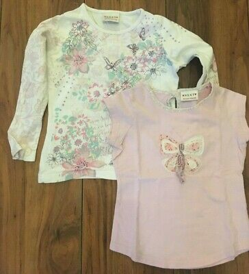 Girls Next Butterfly Print Tops Age 5 Years X 2