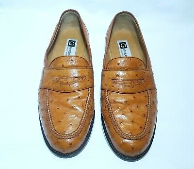 Giorgio's of Palm Beach Men's Brown Ostrich Leather Loafers Size 10.5 W