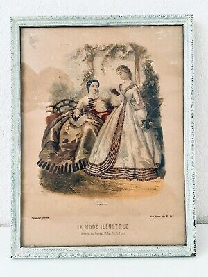 "La Mode Illustree Leroy Imp Paris Victorian Ladies Framed Copper Print 10"" x 13"""
