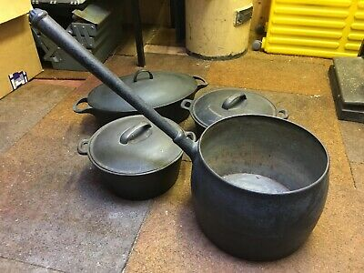 Vintage  Black Cast Iron Pan / Pot Collection - Gypsy / Farm House - VERY HEAVY!