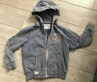 Next Age 9 Boys Faded Style Blue-Grey Full Zip Hoodie