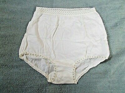 Vintage White with Blue Trim Cotton Brief Panties size 6 Made in USA New