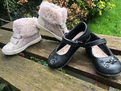 2x Size 7 Toddler Junior Girls Pink Trainers & TU Black Leather School Shoes