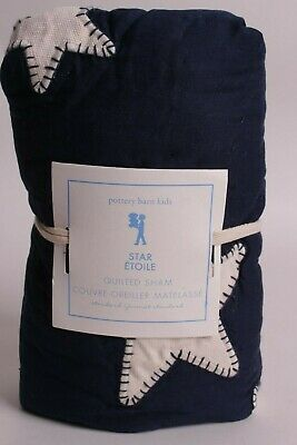 NWT Pottery Barn Kids Star standard sham, navy blue, quilted *qty available*