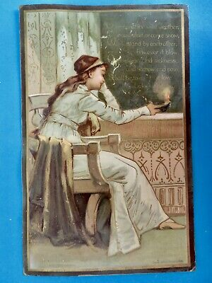 1882 Victorian Large PRANG Card Maiden by Candlelight