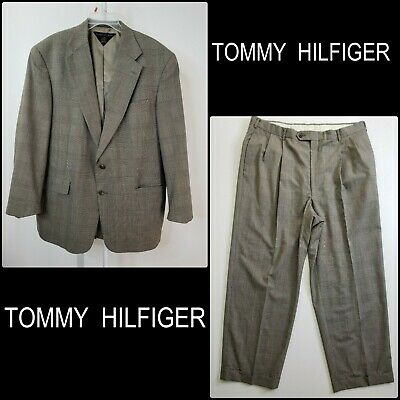 Tommy Hilfiger Men Career Formal Long Two Button Blazer Suit And Pants 38 Brown