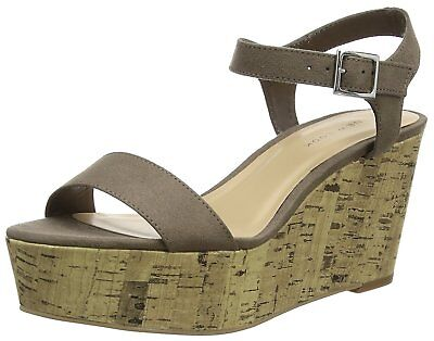 New Look Size 5 8 38 42 Beige Taupe Mink Mid Heel Cork Wedge Shoes Sandals New