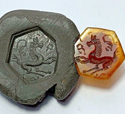 ANCIENT NEAR EASTERN CARNELIAN INTAGLIO SEAL STONE ANIMAL CIRCA 300 AD 20,3mm