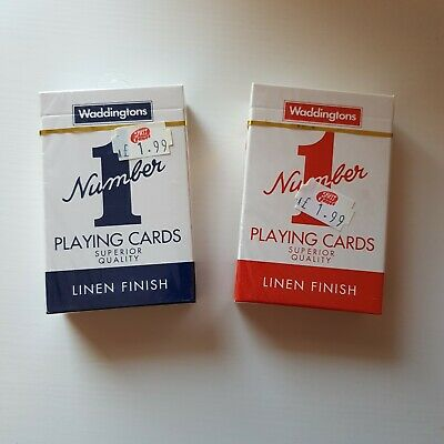 Waddingtons No.1 Classic Playing Cards Decks of Red & Blue Poker Game Brand New