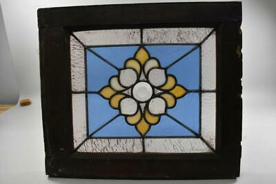 Antique Stained Glass Window Beveled Center Blue Hammered Back Rose Rippled