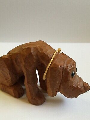 Vintage Wooden Carved For Court Dog Signed And Dated By Artist