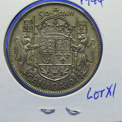 1944  Canadian Silver (80% Ag)  50 Cent Coin Lot X1: King George VII