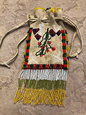 Vintage APACHE Pictorial Beaded Bag American Flag 2 Sided Pouch Beadwork Native