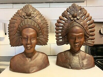 Antique Hand Carved Wooden Heads