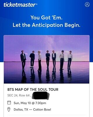 3 BTS Tickets  May 10, 2020 - Section 24, row 64. Face Value!!