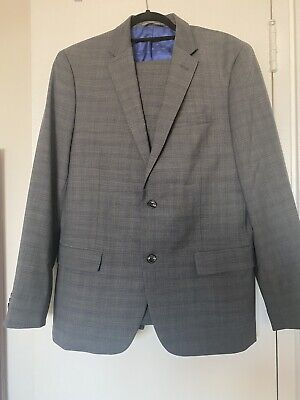 Ben Sherman Mens Suit Gray Blue Size R 42 W 36 Two Button NWOT