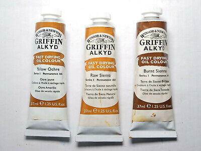 3 full tubes Winsor Newton griffin alkyd oil paint yellow ochre burnt raw sienna