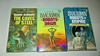 ISAAC ASIMOV lot of 3 science fiction paperbacks in the R. Daneel Olivaw quartet