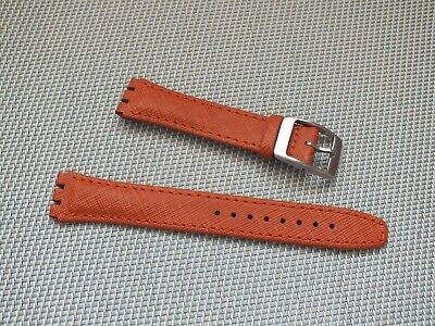 Genuine Leather Cross Grain Watch Strap 17mm Orange for Swatch by Geckota