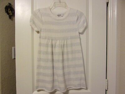 Old Navy Girl's Short Sleeve Sweater Dress Cream Silver Metallic Threads Striped