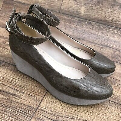 Size Uk 4 D Clarks Emery Retro Brown Leather Wedge Heel Ankle Strap Court Shoes