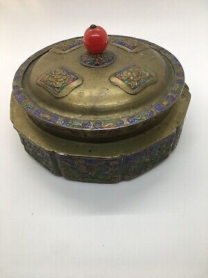 Rare Old Chinese Repousse Enamel Metal With Rare Blue Cobalt Glass Liner Box