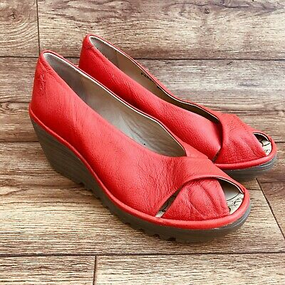 Size Uk 6 Fly London Yaff Peep Toe Red Leather Wedges Smart Work Shoes