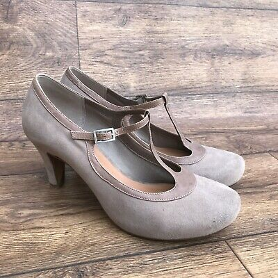 Size Uk 6 D Clarks Chorus Thrill Taupe Suede T-Bar Court Shoes Slim High Heels