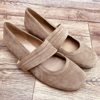 Size Uk 6.5 Hotter Adriana Light Brown Suede Wide Strap Low Heel Court Shoes