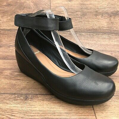 Size Uk 8 D Clarks Artisan Wynnmere Fox Black Leather Ankle Strap Wedge Shoes