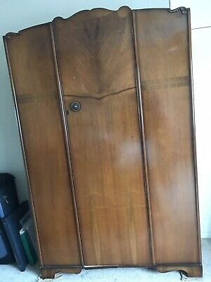 Vintage 1940s Large Walnut Wardrobe