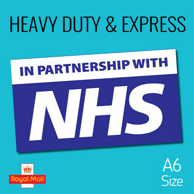A6 size, IN PARTNERSHIP WITH NHS waterproof vinyl signs window car taxi van shop