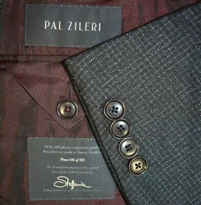 42L Pal Zileri Phase 180 Dark Gray Micro-check Tailored 2 PIECE SUIT