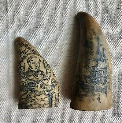 Two Faux Whale's Tooth Scrimshaw - Museum Cast Whaling Ship & Capt. N.B. Vincent