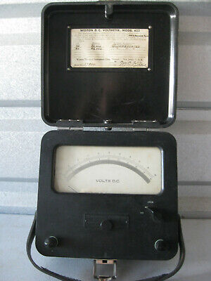 Vintage Weston DC Volt Meter Model 622 Bakelite Leather Handle 1950's