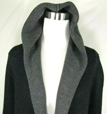 Eileen Fisher Womens Open Front Hoodie Sweater Size Large Gray Black 100% Wool