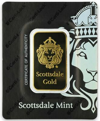 1oz Gold Minted Bar - Scottsdale - 100% Genuine and Verifiable with CertiLock