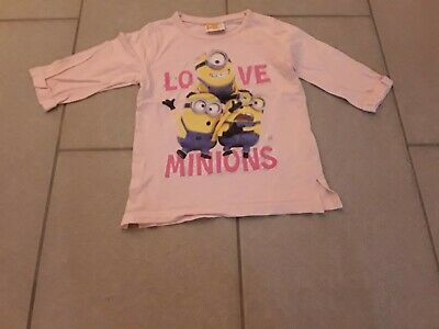 Despicable Me Pale Pink With Minion Print 3/4 Sleeve Tshirt Age 6 Girls
