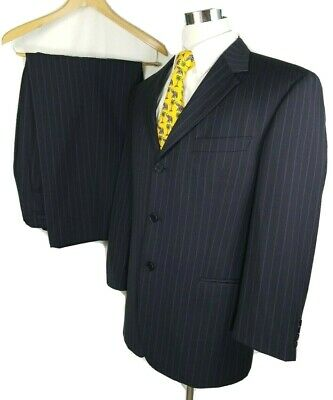 """Hugo Boss Three Button Suit 42 S 34 x 28 with 2"""" Hem Black with Blue Pinstripes"""