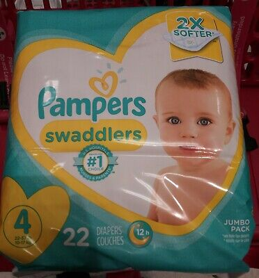 PAMPERS SWADDLERS SIZES 2-6 (22 COUNT) 22-37 LBS JUMBO PACK BRAND NEW any size