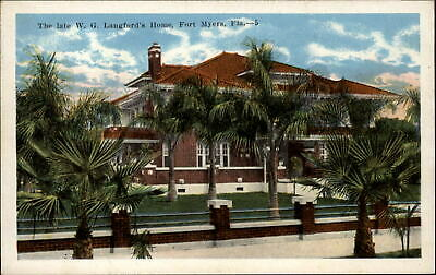Fort Myers Florida ~ WG Langford's Home palm trees ~ 1920s postcard