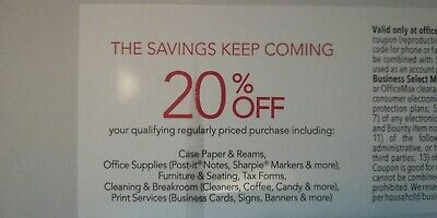 Office Depot OfficeMax Offers online, in store, phone exp 4/30 20% OFF Purchase